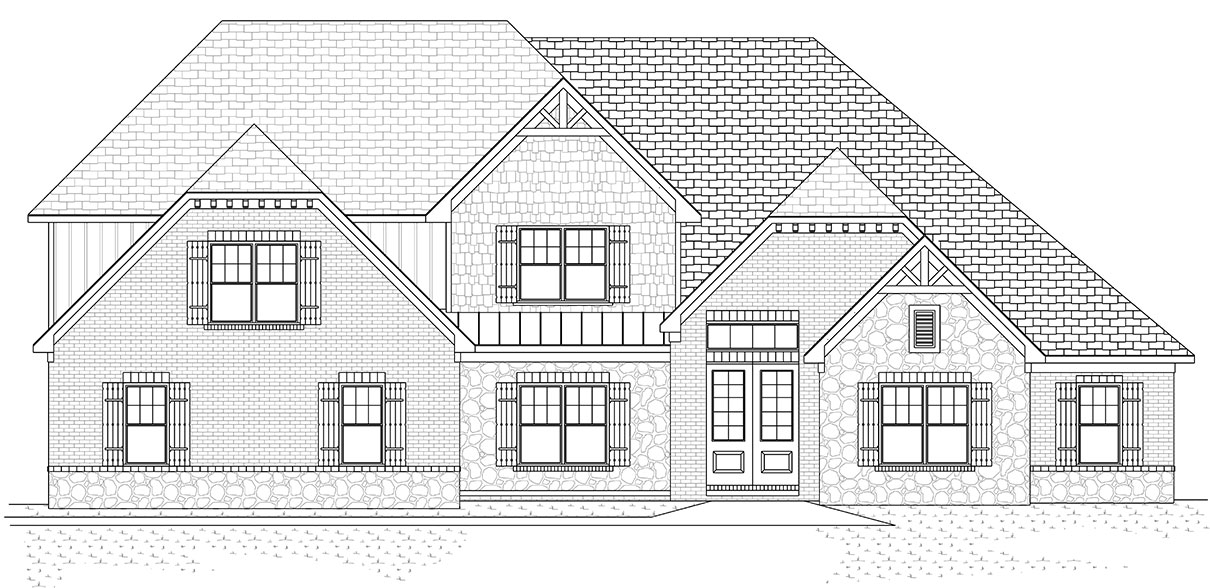 Outline drawing of 977 Chatham Place Home on Lot 1